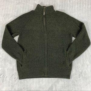Lucky Brand Zipper Sweater Jacket Sz Large Green/Black Sherpa Collar Thick Knit